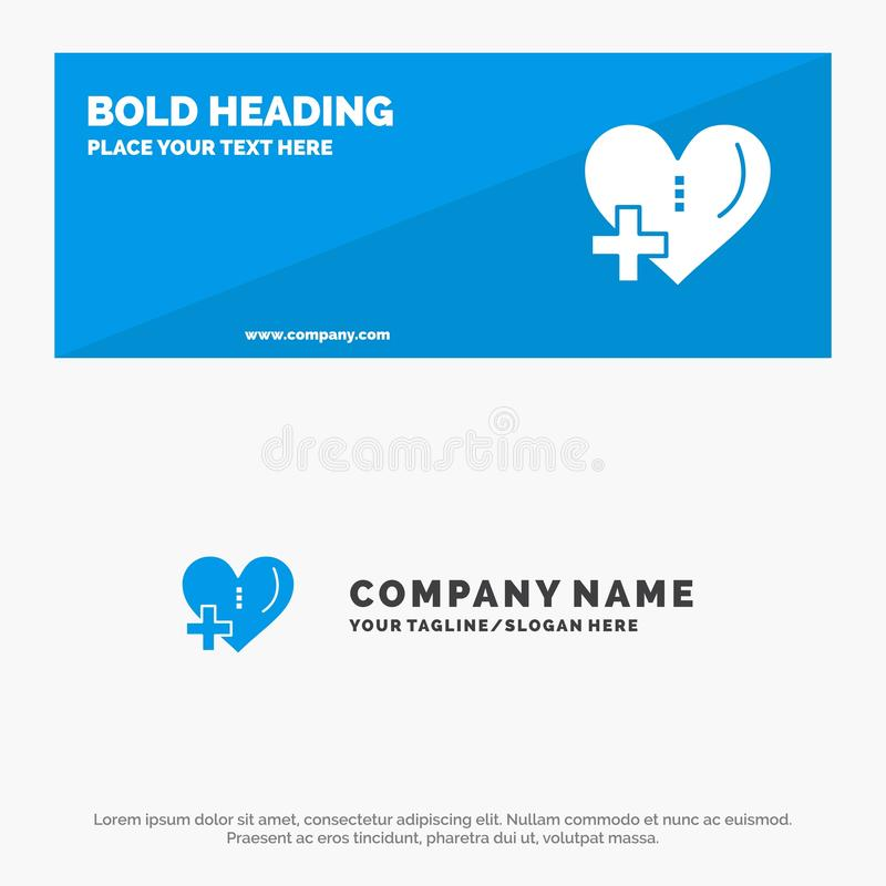 Heart, Love, Add, Plus SOlid Icon Website Banner and Business Logo Template vector illustration