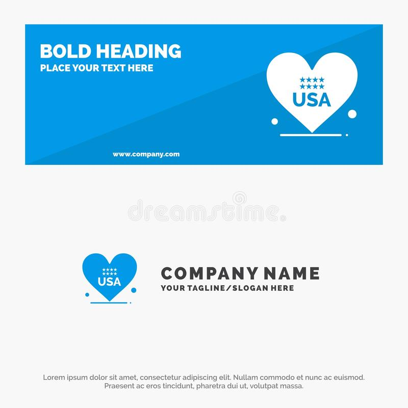 Heart, Love, American, Usa SOlid Icon Website Banner and Business Logo Template vector illustration