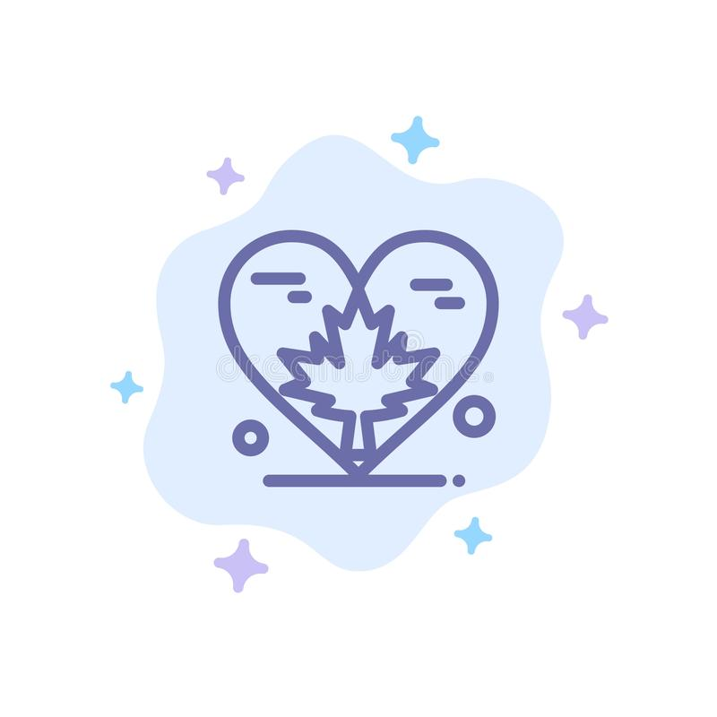 Heart, Love, Autumn, Canada, Leaf Blue Icon on Abstract Cloud Background royalty free illustration