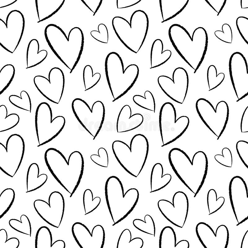 Seamless pattern of hand-drawn hearts. Background for cards, papers, fabrics, wallpapers, decoration, web banners, posters, brochu vector illustration