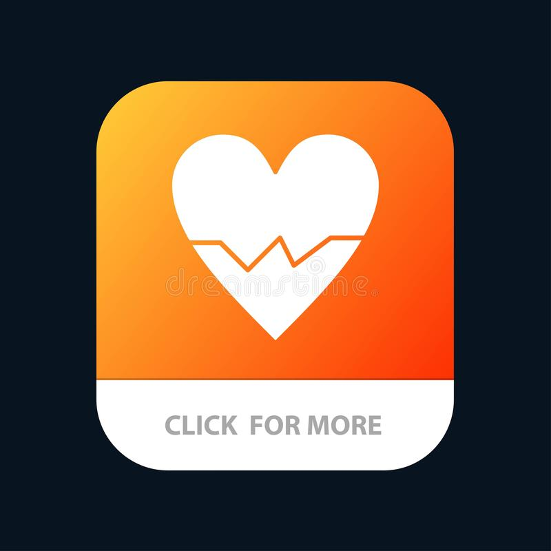 Heart, Love, Beat, Skin Mobile App Button. Android and IOS Glyph Version royalty free illustration