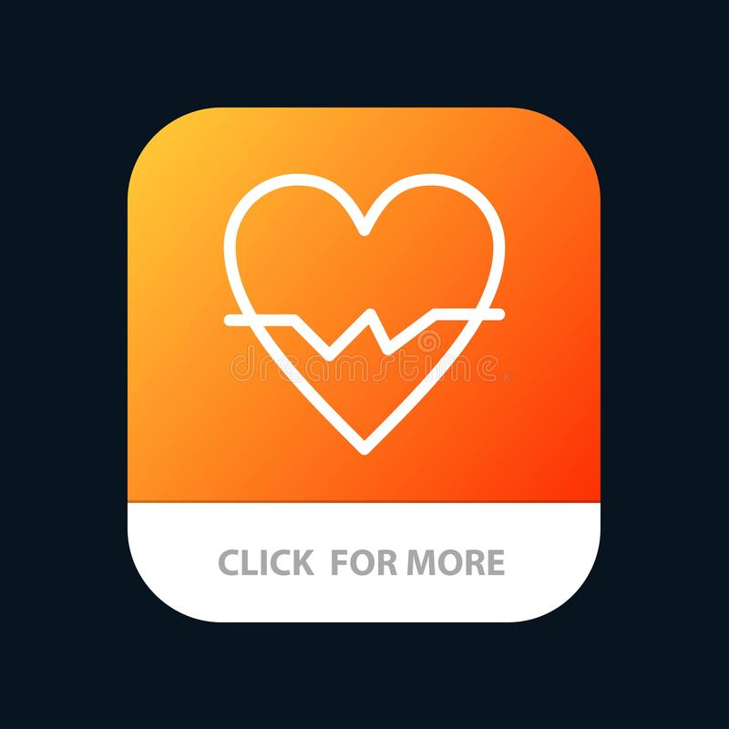 Heart, Love, Beat, Skin Mobile App Button. Android and IOS Line Version vector illustration
