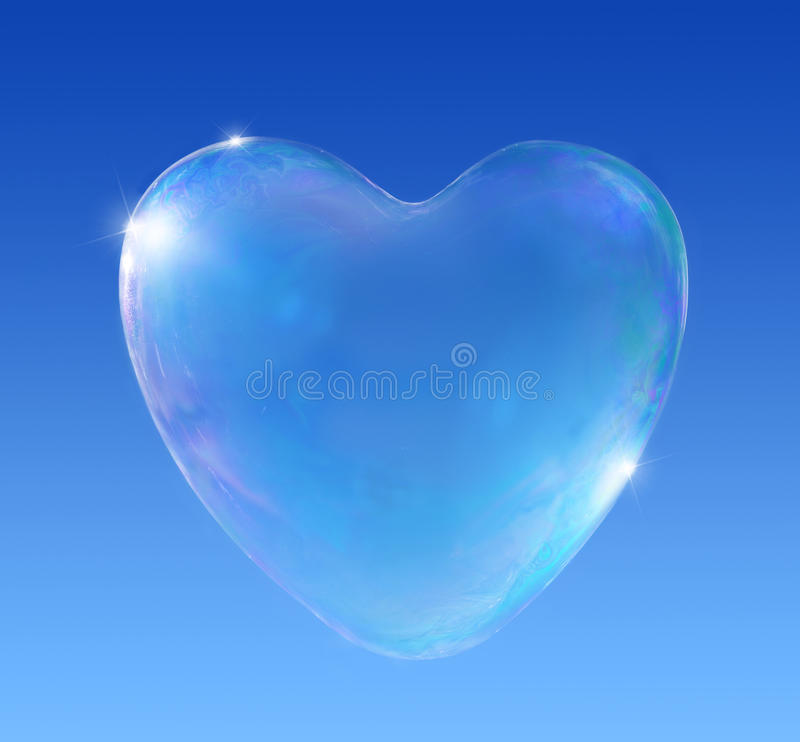 Heart Love Bubble. Illustration of heart shaped soap bubble on graduated blue background vector illustration