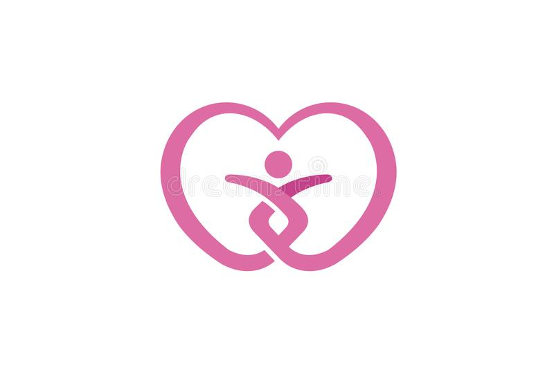 Heart Love Care Body Silhouette People Healthy Logo stock illustration