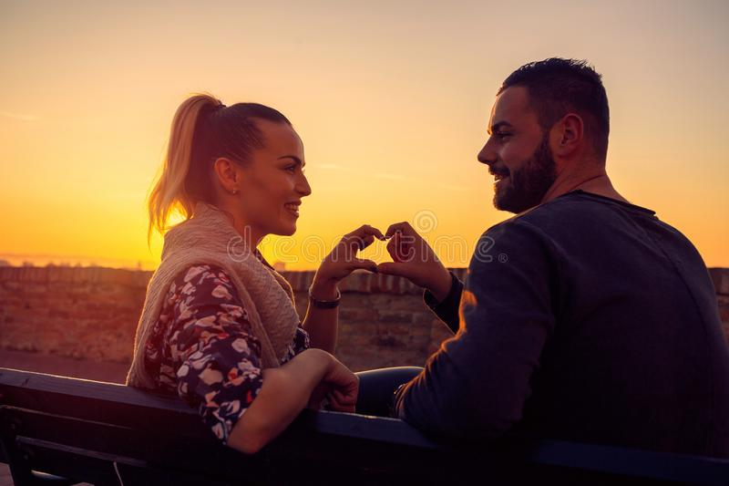 Heart and love.Couple in Love at evening enjoying time together stock photo