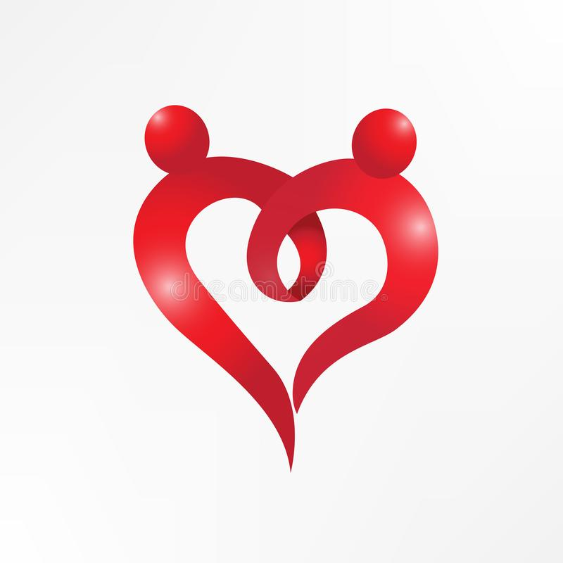 Heart love couple holding hands logo symbol royalty free illustration