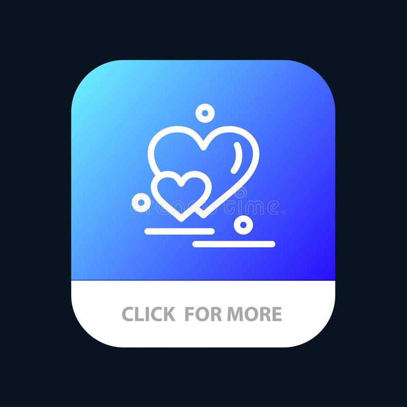Heart, Love, Couple, Valentine Greetings Mobile App Button. Android and IOS Line Version vector illustration
