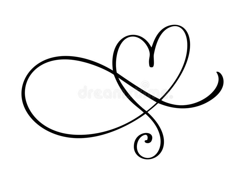 Heart love flourish sign. Romantic symbol linked, join, passion and wedding. Template for t shirt, card, poster. Design royalty free illustration