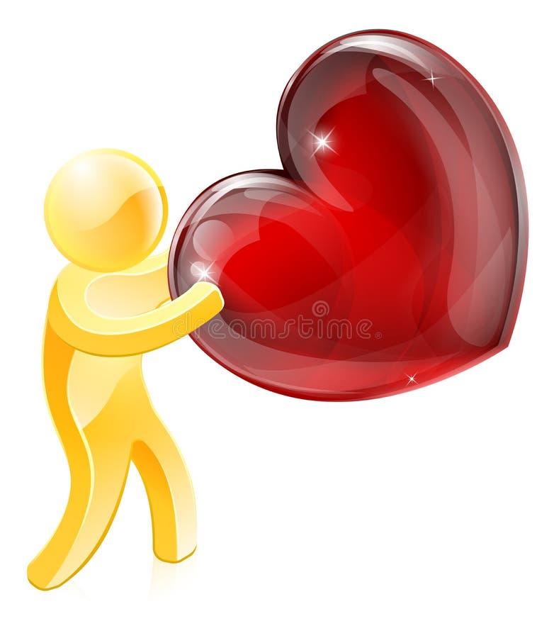 Heart love gold person stock illustration