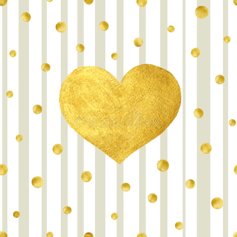 Free Heart Love Gold Watercolor Texture Paint Stain. Vector Greeting Card Stock Photo - 66830870