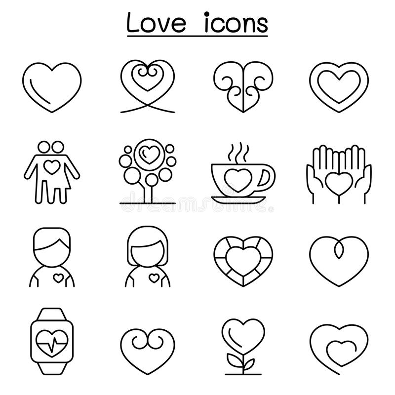 Heart & Love icon set in thin line style vector illustration