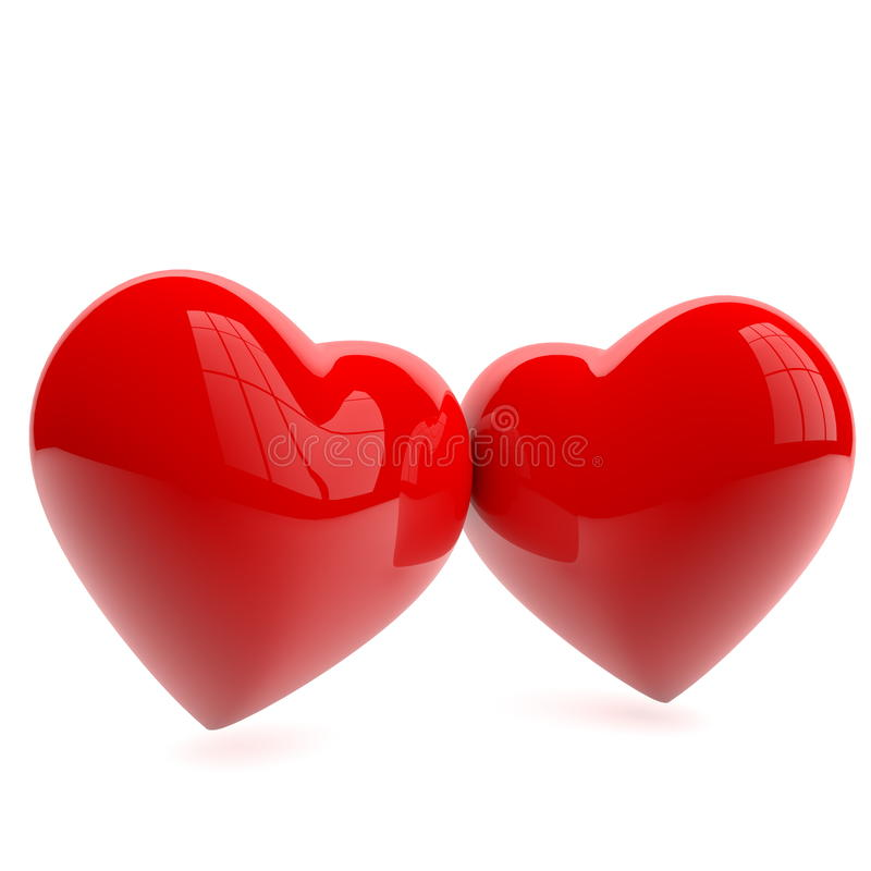 Heart love isolated. Two red hearts on white royalty free illustration