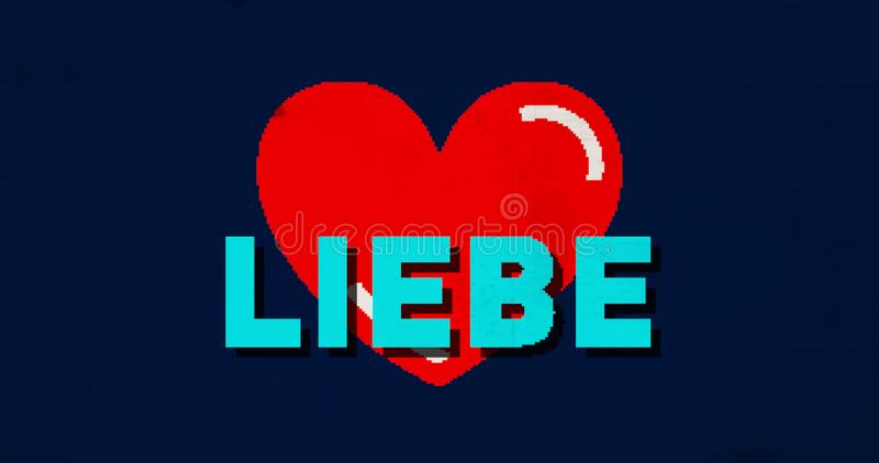 Heart love liebe. Pixel heart shape with liebe love in german in retro game console stylized illustration. Vintage effect royalty free illustration