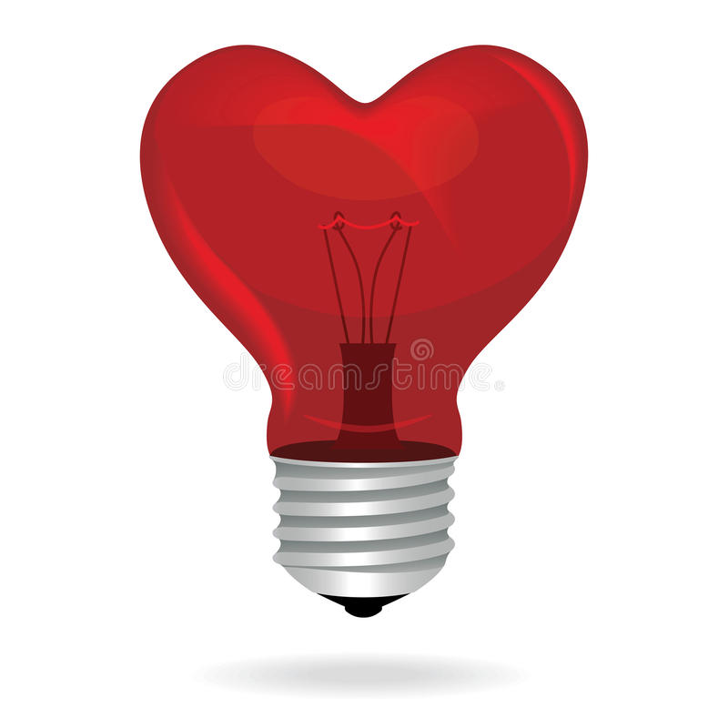 Free Heart Love Light Bulb Vector Isolated Object. Royalty Free Stock Images - 35630389