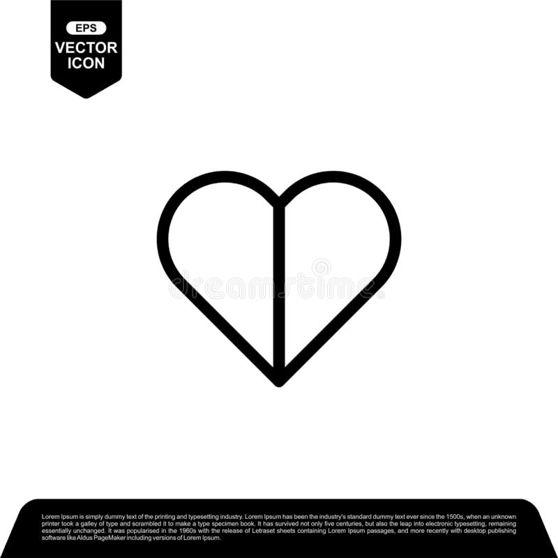 Heart love line icon design, romance vector illustration. Heart love line icon design, black outline vector icons, isolated against the white background vector illustration