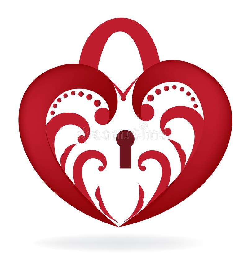 Heart love lock logo. Floral red heart love lock vector image logo icon royalty free illustration