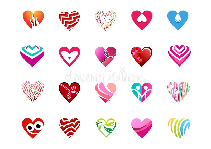 Set heart logo, heart valentine icon set, love signs logo, collection of hearts symbol icon vector design. Set heart logo, love sign logos and collection of vector illustration