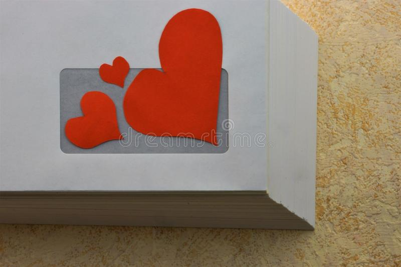 Heart with love through the mail in an envelope. Loyalty respect understanding patience reciprocity liking the beauty of an intimate attachment stock images