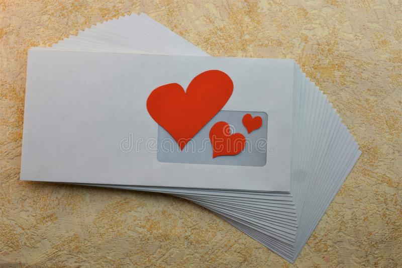 Heart with love through the mail in an envelope. Loyalty respect understanding patience reciprocity liking the beauty of an intimate attachment stock photography