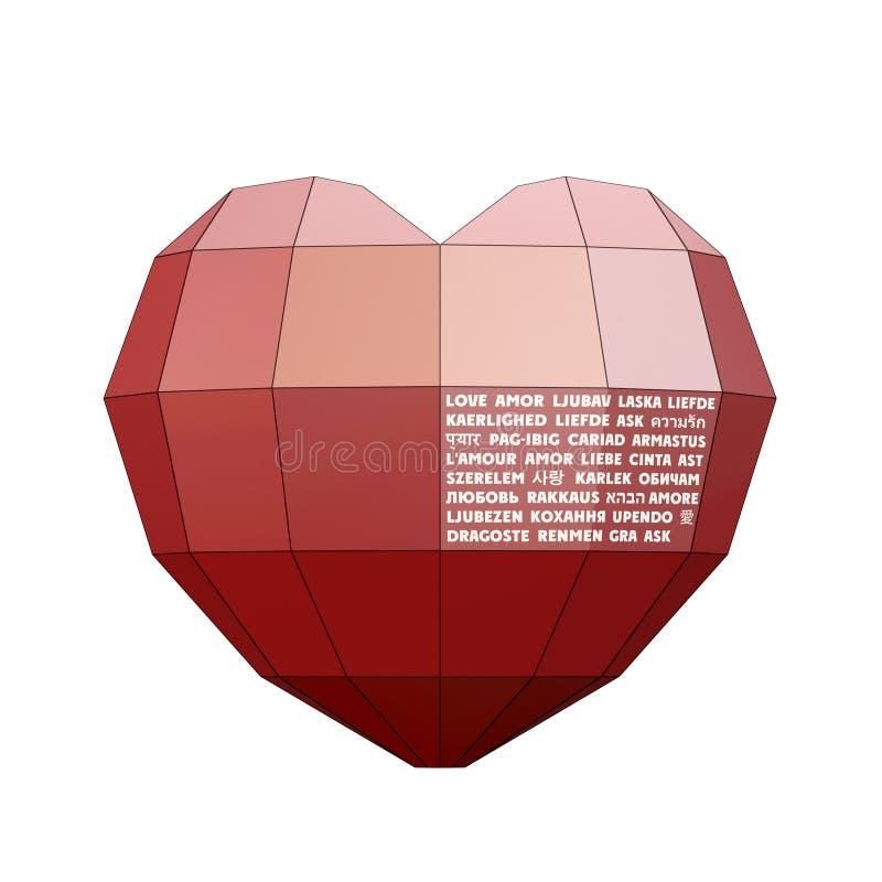 Heart&Love na 30 języku ilustracja wektor