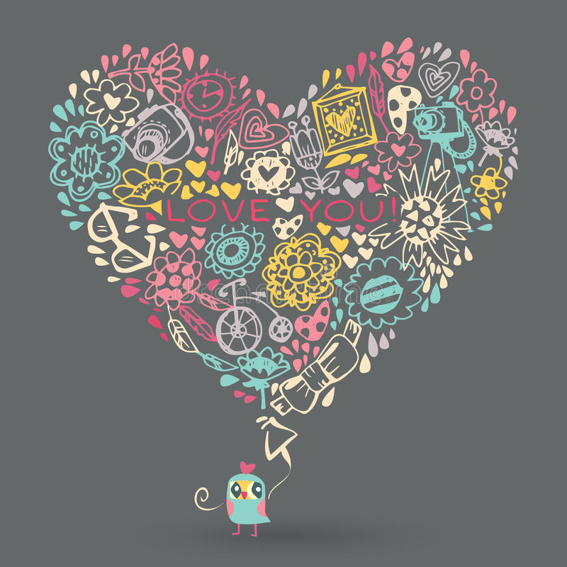 Heart love pattern and Owl. royalty free illustration