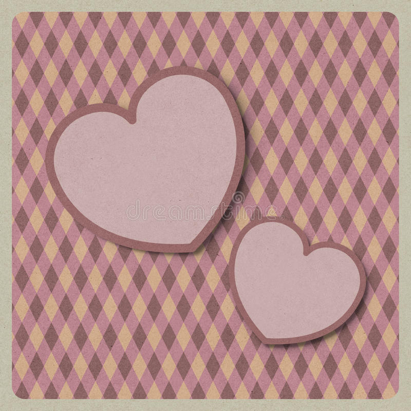 Heart love shape on retro background made from recycled paper cr stock illustration