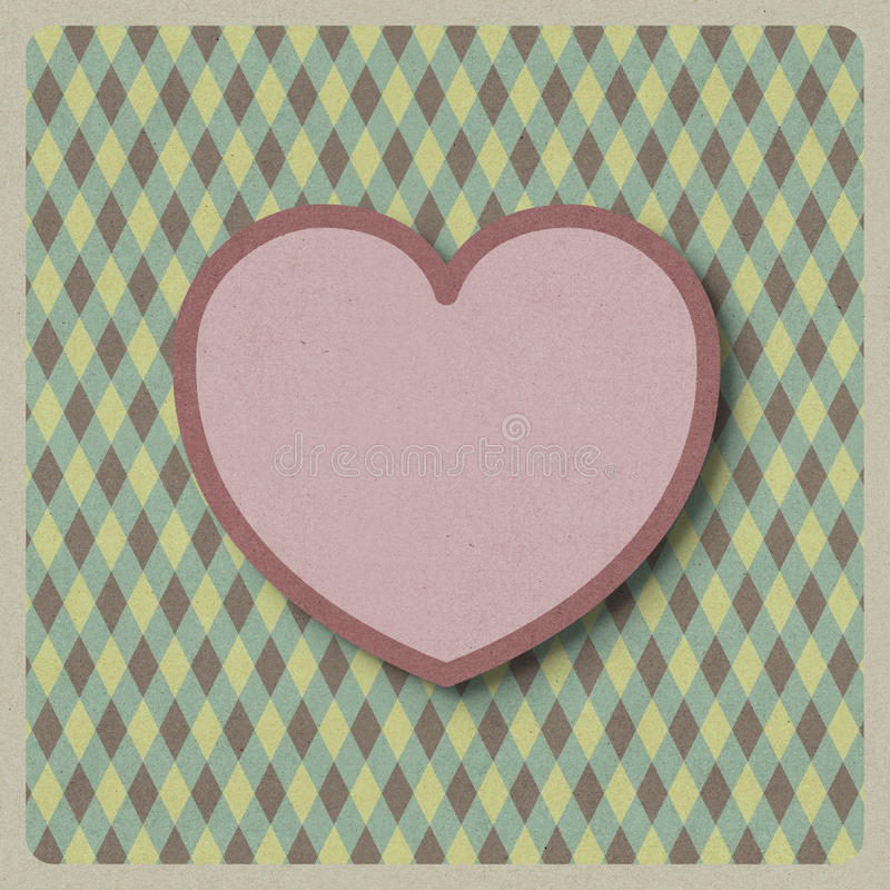 Heart love shape on retro background made from recycled paper cr royalty free illustration