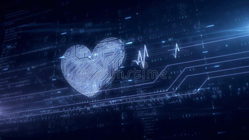 Heart and love symbol blue hologram vector illustration