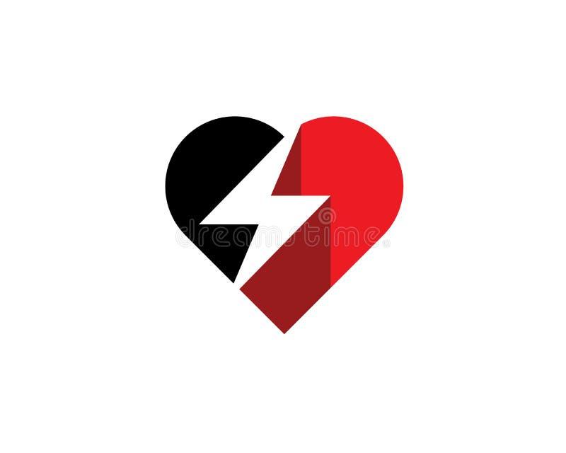 Heart love symbol with negative space lightning thunder striking through. Gradient heart love symbol with negative space lightning thunder striking through vector illustration