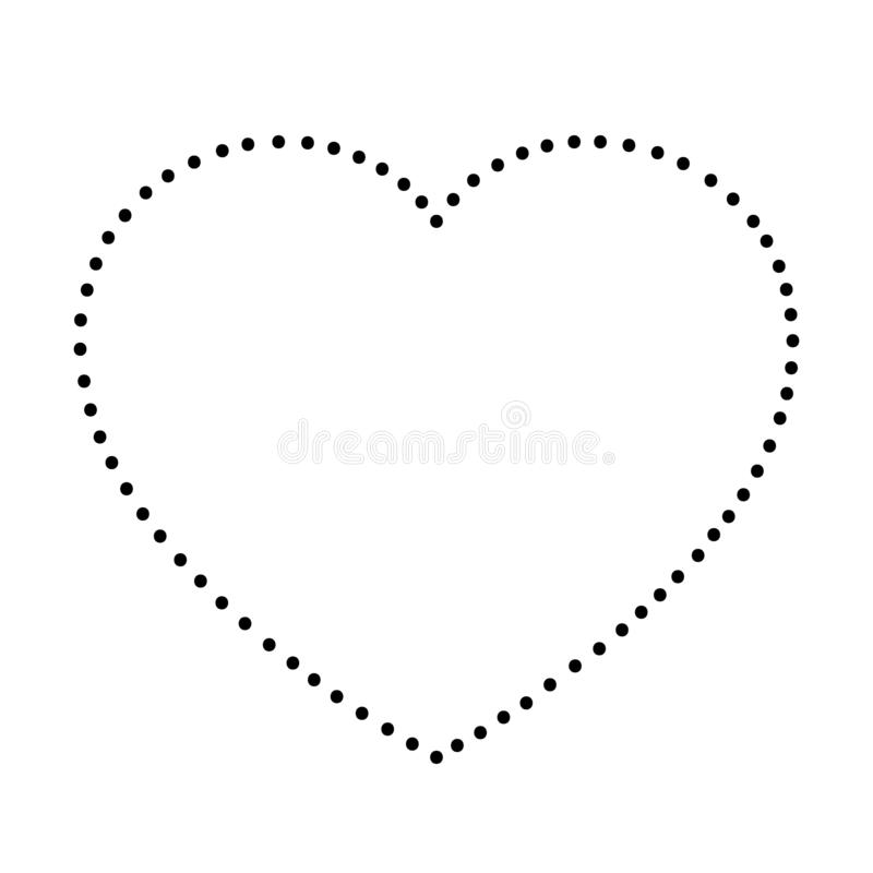 Heart love symbol for Valentine`s day from abstract schematic from the black dots along the perimeter. Vector illustration royalty free illustration