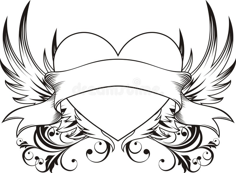 Download Heart love tattoo stock vector. Image of drawing, decoration - 7823403