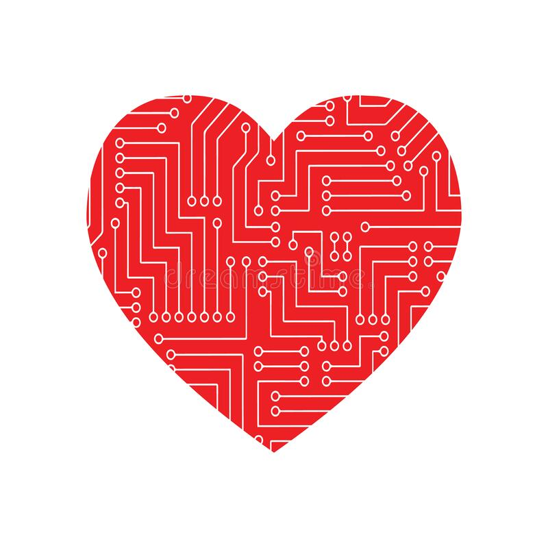 Heart love technology concept design for Valentine. A concept of information technology logo. Vector circuit board heart. Computer stock illustration