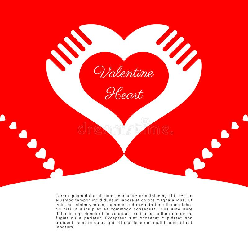 Heart love Valentine`s Day, red background, text white space, abstract , banner website stock photo