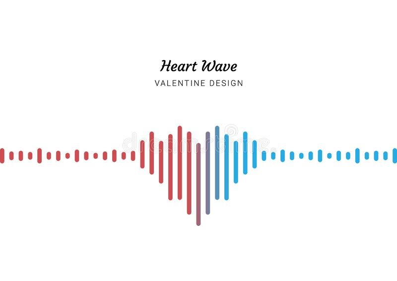 Heart love Valentine`s Day, sound wave background, isolated white space stock image