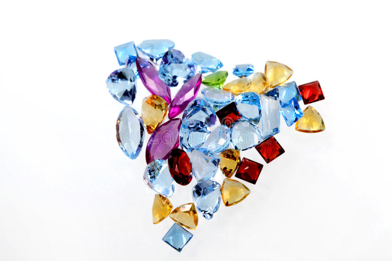 Heart of luxury gems. Luxury color gems on white background royalty free stock photo