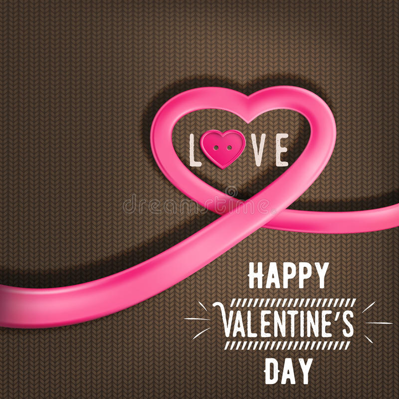 Heart made of bright ribbon for Valentine's Day (14 February). Heart made of bright ribbon with shadow. Banner for Valentine's Day (14 February). Vector royalty free illustration