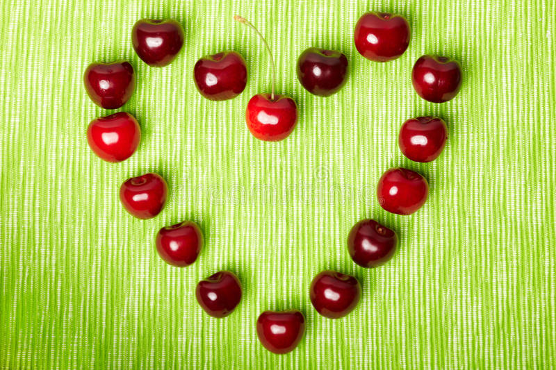 Download Heart made of cherries stock photo. Image of heart, stem - 20944646