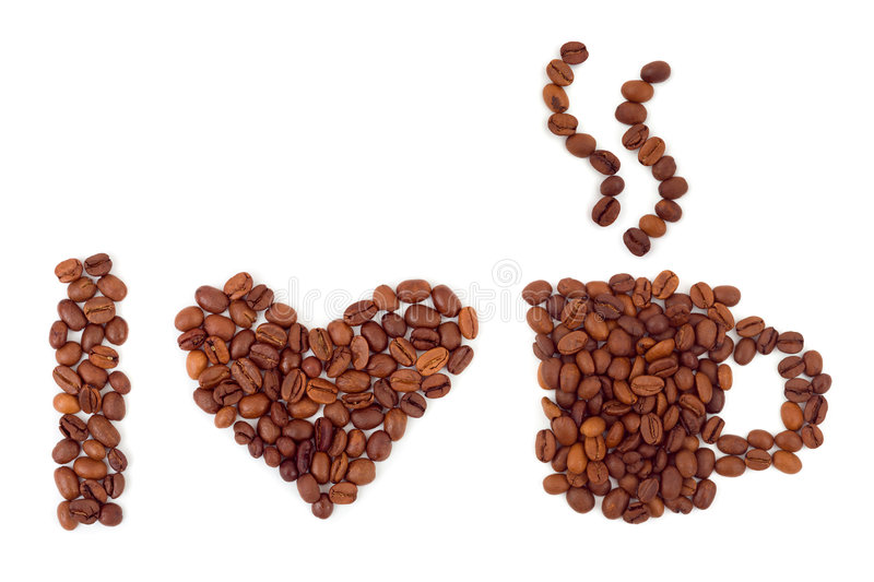 Heart made of coffee royalty free stock photos