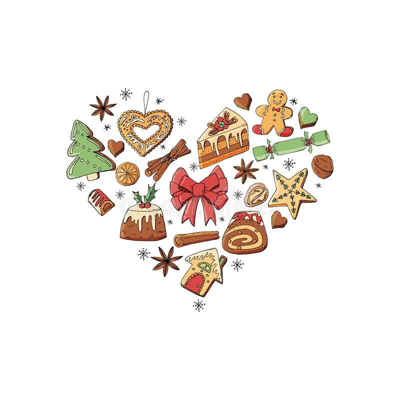 Heart made of different christmas winter desserts, sweets and food. Design template for restaurant and cafe menu vector illustration
