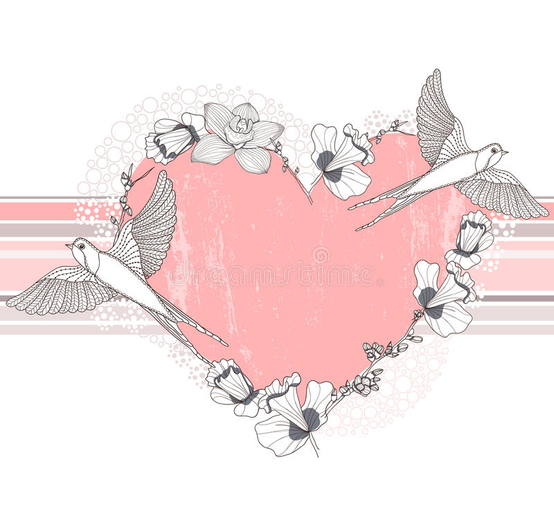 Download Heart Made From Flowers And Birds Stock Vector - Illustration of honeymoon, grunge: 25217266