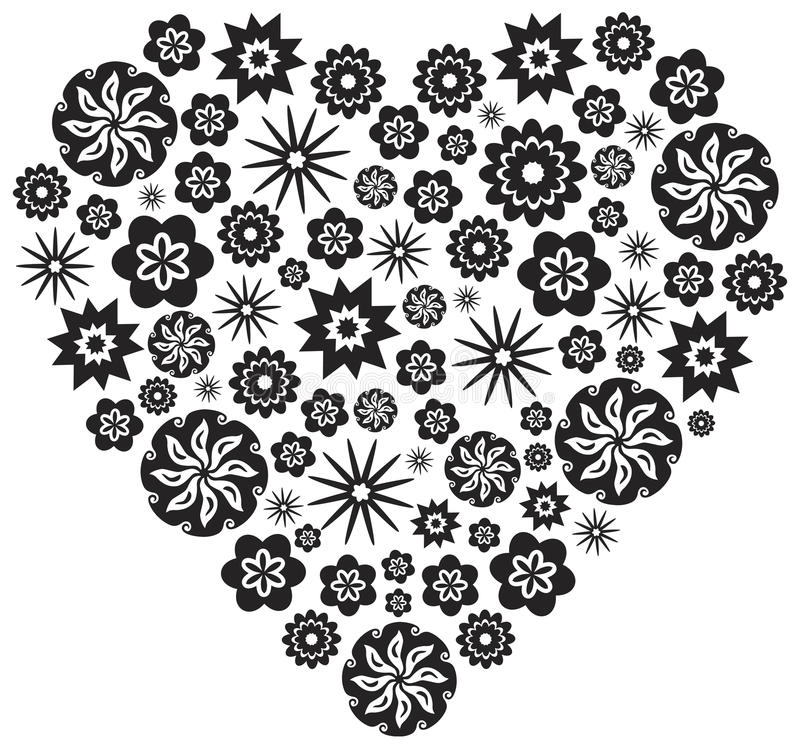 Heart made of Flowers in Black and White Vector Illustration stock illustration