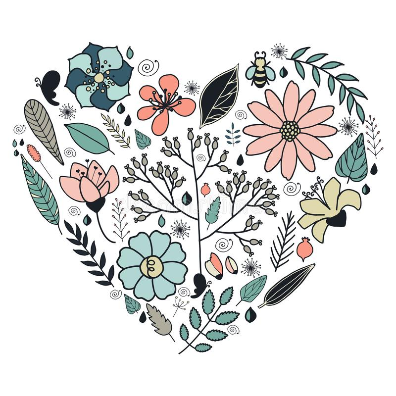 Heart made of flowers in vector. stock illustration