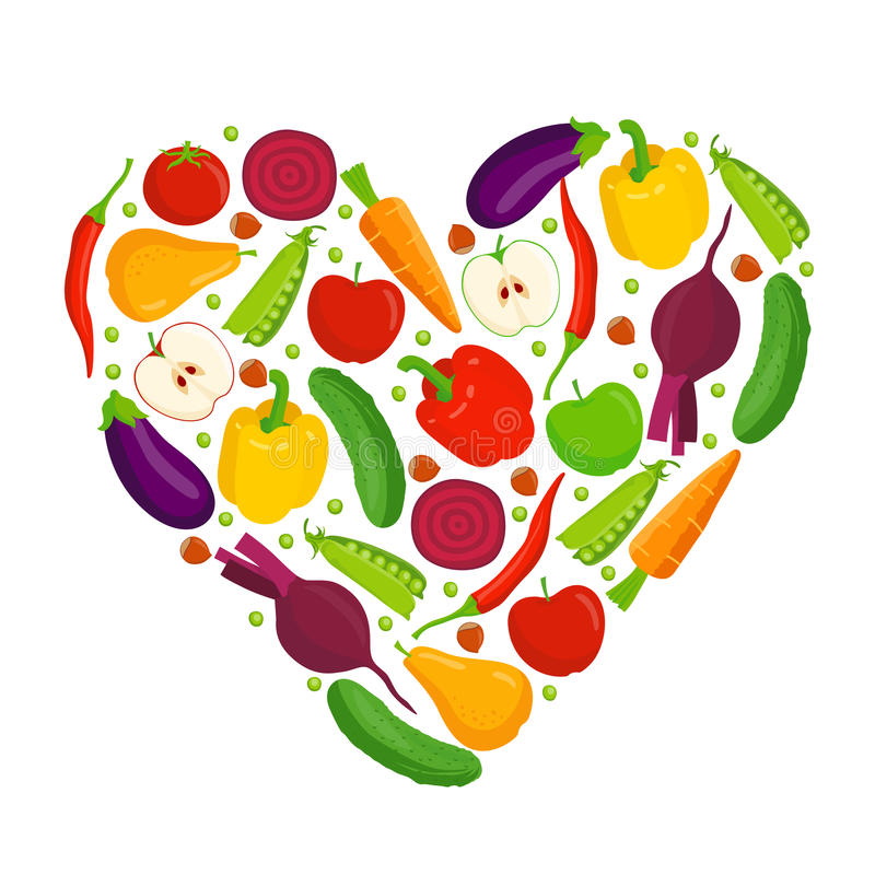 Heart made of fruits and vegetables royalty free illustration