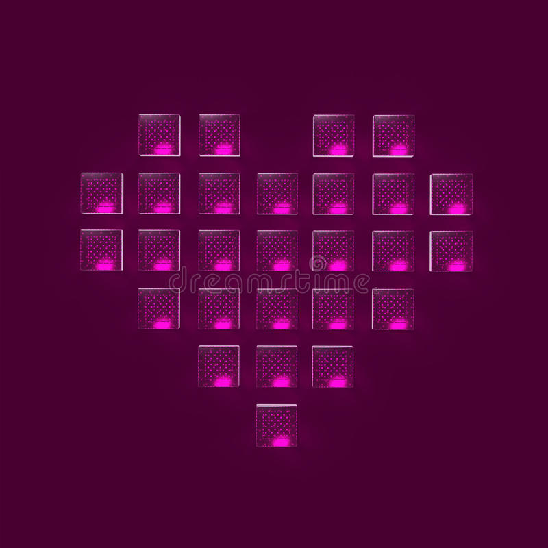 heart made of glossy glowing glass cubes pixels, gaming, love bacground render stock illustration