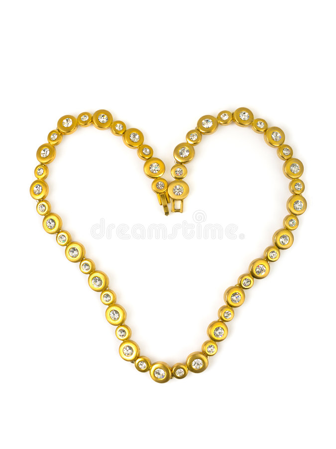 Heart made of gold chain stock photos