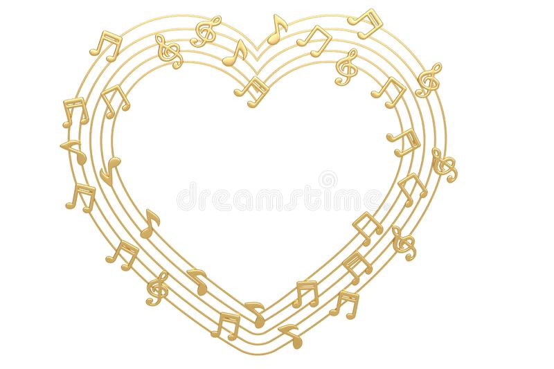 Heart made with gold musical notes.3D illustration. royalty free illustration