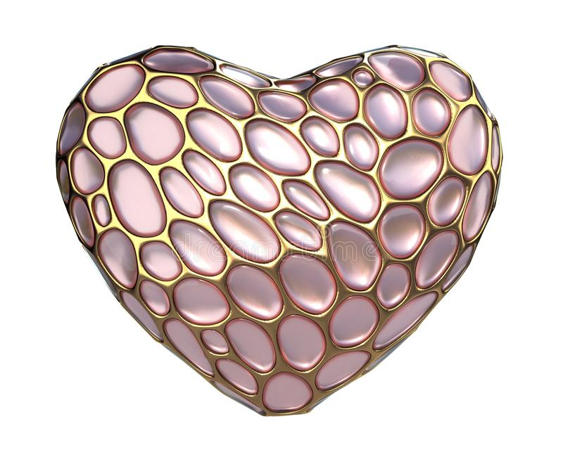 Heart made of golden shining metallic 3D with pink glass isolated on white background. stock images