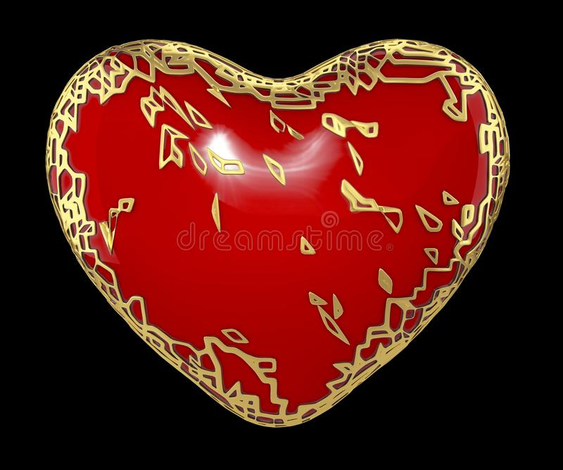 Heart made in golden shining metallic 3D with red paint isolated on black background. stock photography