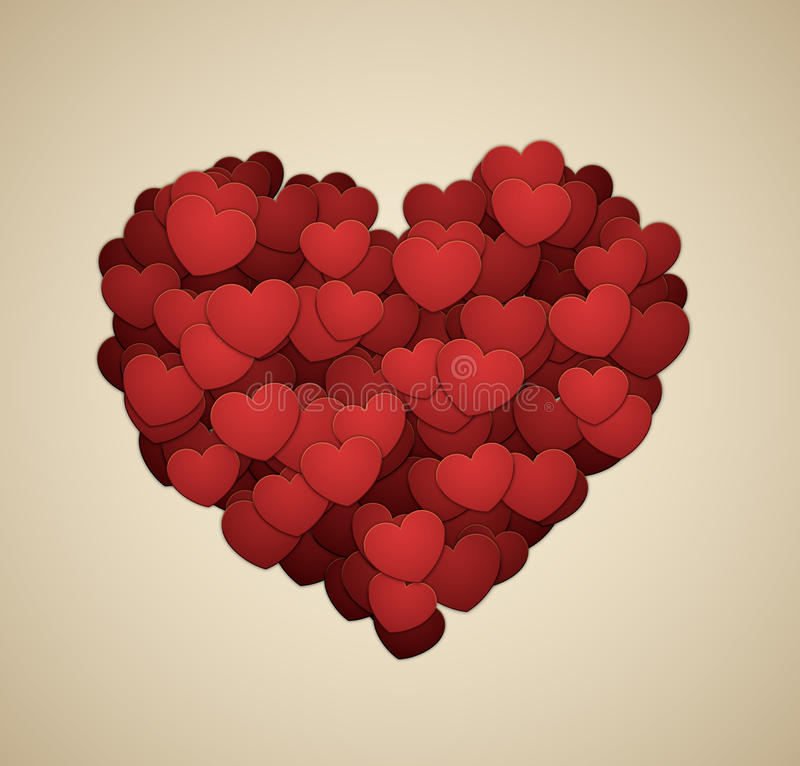 Heart made of hearts stock illustration