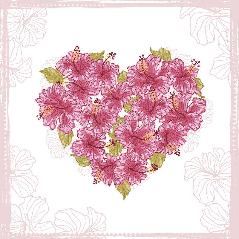 Heart made from Hibiscus flowers stock illustration